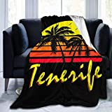 Tenerife Vintage Sun Fleece Flannel Throw Blanket Lightweight Ultra-Soft Warm Bed Blanket Fit Sofa Suitable