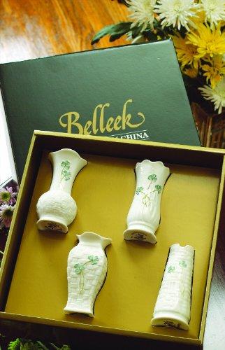 Belleek Shamrock 4 - Inch Mini Vases, Pack of 4