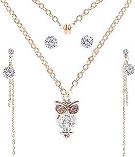 YAZILIND Damen Gorgeous silberfarbenes V-Form Kristall Strass Halskette Quaste Ohrringe Schmuck Set
