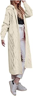 Aniywn Women's Long Sweater Cardigan Tops Solid Casual Long Sleeve Open Front Hooded Coat with Pocket
