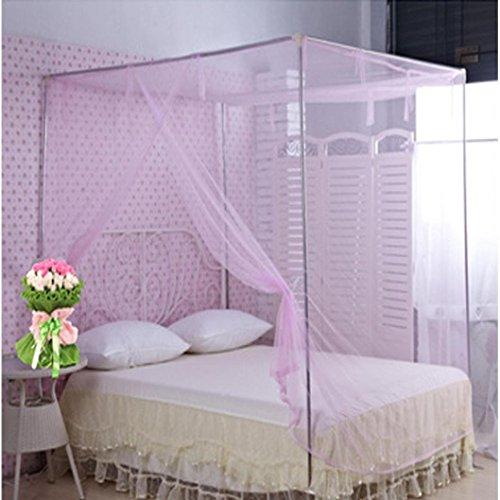 Kolylong Moustiquaire Ciel de lit étudiants Dortoir Moustiquaires 16 Secret spécial carré (150_x_200_cm, Rose)