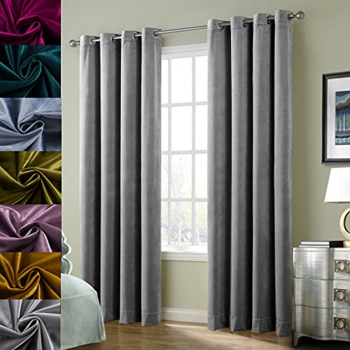 Cherry Home Super Soft Luxury Velvet Smoky Gray Classic Light Blocking Drapes Curtains Panels Home Theater Grommet Drapes Eyelet 52Wx108L inch Light Grey,2 Panels