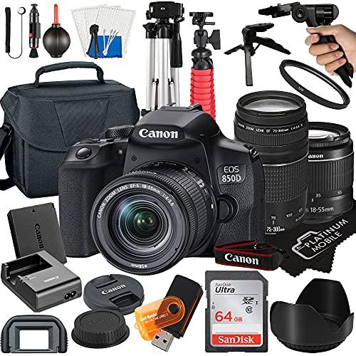 Canon EOS 850D / Rebel T8i DSLR Camera with 18-55mm + 75-300mm Lens + 64GB Card + Tripod + Case + MegaAccessory Bundle (22pc Bundle) (SanDisk 64GB)