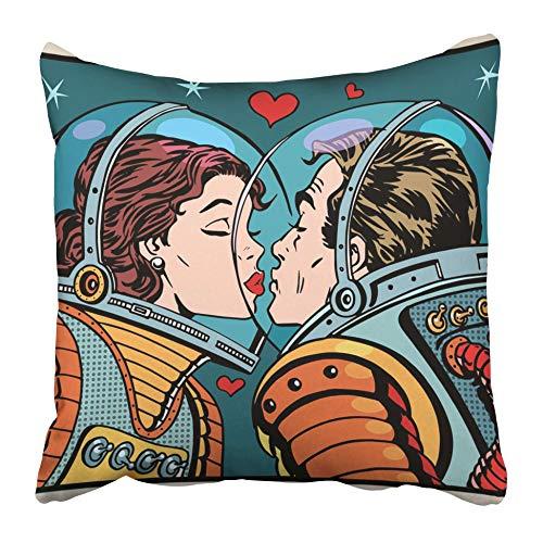 AEMAPE Fundas de cojín Red Pop Kiss Space Hombre Mujer Astronautas Pareja Comic Love Retro Valentine Cosmos Romance 40X40 Cm Funda de cojín