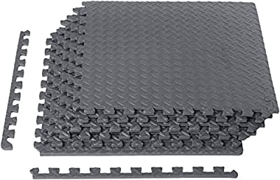 AmazonBasics Foam Interlocking Exercise Gym Floor Mat Tiles - Pack of 6, 24 x 24 x .5 Inches, Grey