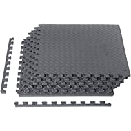 Amazon Basics Foam Interlocking Exercise Gym Floor Mat Tiles - Pack of 6, 24 x 24 x .5 Inches