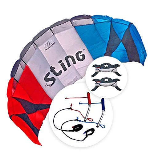 FLEXIFOIL Power Kite | Sting Stunt Kite | Adult and Older Kids 2.6m Quad Lines Trainer Parafoil | Best 4 Line Beach Summer Sport Trick Kites with Handles | Outside Kiting Activity | Easy to Fly 2.4m²