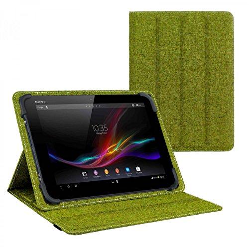 eFabrik Schutztasche für Sony Xperia Z4 Tablet 10.1 Zoll Wendehülle Tasche Hülle Cover türkis-grün & grau Leinen