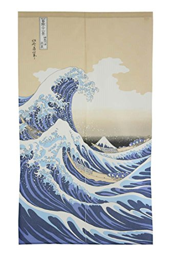 Made in Japan Noren Curtain Tapestry Ukiyoe Hokusai The Great Wave Kanagawa by Narumi