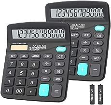 Calculator, BESTWYA Dual Power Handheld Desk Calculator with 12 Digit Large LCD Display Big Sensitive Button (Black, Pack of 2)