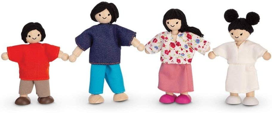 PlanToys Wooden Dollhouse Family- Mom, Dad, Son, and Daughter (7417) | Sustainably Made from Rubberwood and Non-Toxic Paints and Dyes