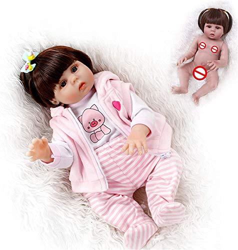 MLL Handgemachtes weiches Silikon 47Cm wiedergeborenes Baby Lebensechte braune Augen Neugeborenes Mädchen Spielzeugpuppe Vinyl Geburtstagsgeschenk, Bester Begleiter