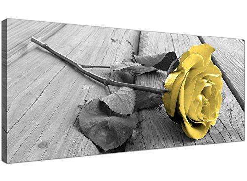 Lienzo artístico 1255 de Wallfillers®, rosa amarilla sobre fondo blanco y negro