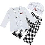 IEFIEL Conjuntos Disfraces de Cocinero Fiesta Bautizo para Bebé Niña Niño Camiseta + Pantalones + Gorro Infantil Blanco 12-18 Meses