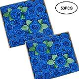 Tebery Lot de 50 Roses artificielles, Bleu Sarcelle, 3'