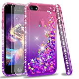 LeYi Compatible for iPhone SE Case (2016), iPhone 5S Case, iPhone 5 Case with 2pcs Tempered Glass Screen Protector for Girls Women, Cute Glitter Liquid Clear Protective Case for iPhone 5, Pink/Purple
