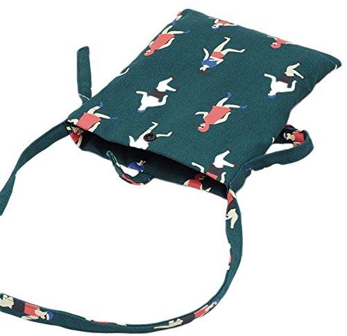 Vi.yo téléphone portable simple sac à main Wallet filles toile Mini Cross Body mignon sac fait à la main Mini coton toile Messenger Bag taille petit (vert foncé)
