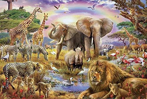 SUNYU® 1000ピース アフリカのジャングル 動物 森林 獣 レインボー サンセット 風景 キッズ 学習 認知 玩具 大人 ブレインティーザー ゲーム 木製 知能 ジグソーパズル