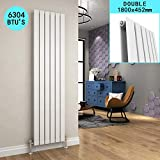 ELEGANT 1800 x 452 mm Designer Vertical Column Radiator White Double Flat Panel