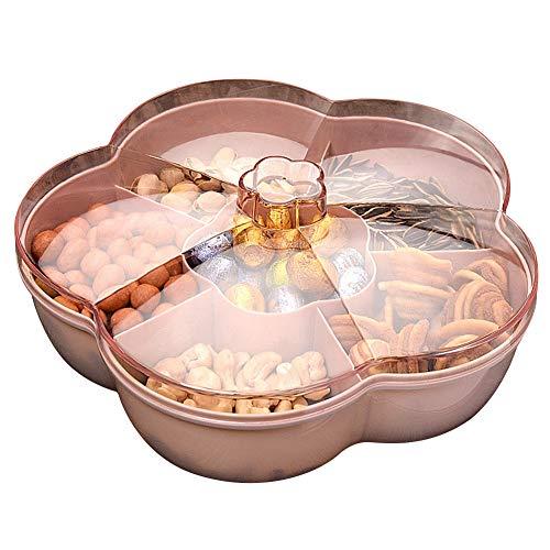 ISAKEN Snack Aufbewahrungsbox mit Deckel, 6 Zellen Blumenforme Süßigkeiten Box Snackschale, Lebensmittel Aufbewahrungsbox Obstbox Obsttablett, Transparente Snackfach Snackplatte Trockenobstbehälter