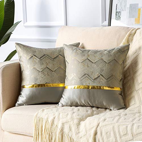 Artscope Juego de 2 fundas de cojín decorativas de 45 x 45 cm, diseño de patchwork, suaves y modernas, lujosas fundas de cojín doradas, para sofá, coche, dormitorio, hogar (gris)