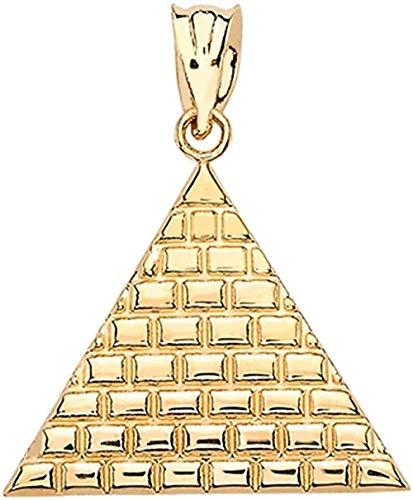 NC122 Collar para Hombres y Mujeres, Regalos, Colgante Triangular de pirámide egipcia Amarilla de 9 Quilates