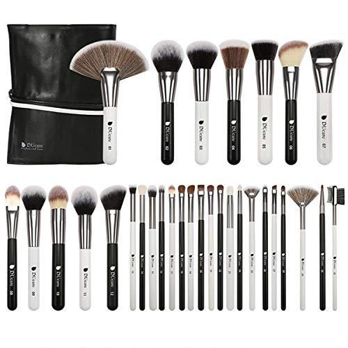 31PCS Brosse De Maquillage - (Avec Sac) Brosse À Cheveux De Chèvre Naturel Noir/Blanc, Fond De Teint Liquide Anticernes Blush Outil De Maquillage Spécial