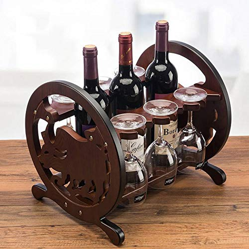 Tabletop Wine Rack Wine Glass Rack Wine Storage Wooden European Grape Rack Wine Cabinet Decoration Simple Assembly for Worktops, Pantries and Fridges (Color : Brown, Size : 27x33x28cm)