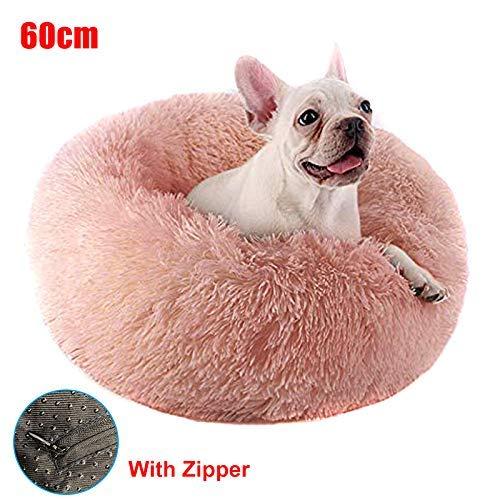 HIGHKAS Haustier Hundebett - Cat Round Donut Kuschelnest, warmes weiches Shag Plüsch beruhigendes Nest Matte Schlafbett für den Winter