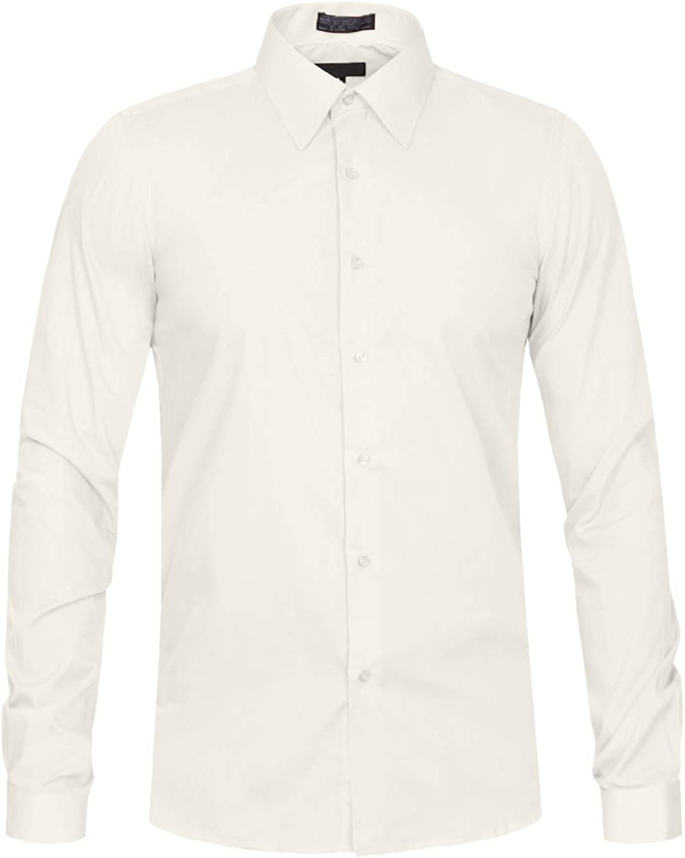 J. LOVNY Men's Premium Fabric Solid Color Slim Fit Dress Shirts S-2XL
