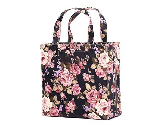 SturdyFoot klein Büchertasche, Lunchbox, Tragetasche, Einkaufstasche, Sporttasche, Wachstuch Tragetasche, wasserdicht PVC beschichtet, Tote Tasche -Rose