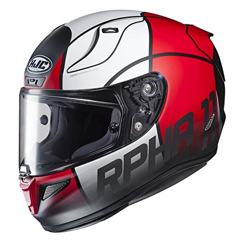 HJC Unisex Adult Full Face RPHA 11 Pro Quintain Motorcycle Helmet (MC-1SF Red/White, Large)