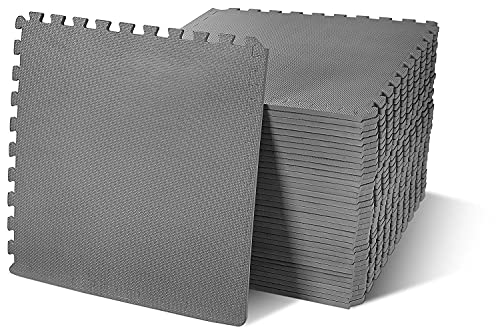 """BalanceFrom Puzzle Exercise Mat with EVA Foam Interlocking Tiles, Gray, 1/2"""" Thick, 144 Square Feet (Pack of 36)"""