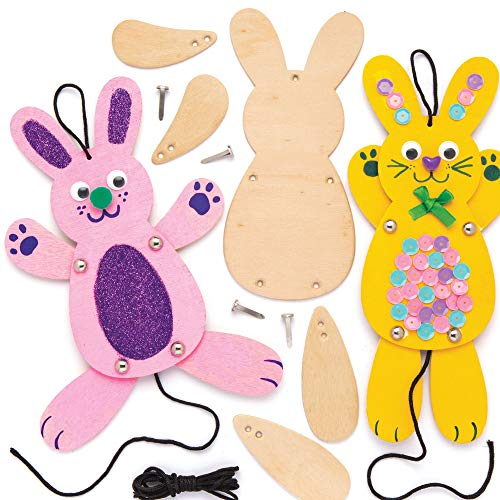 Baker Ross Kits de marionnettes lapins en bois (Lot de 4) - Loisirs créatifs de Pâques pour enfants