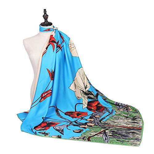 WEJNNI imitatie zijde sjaal mode zee bloem plant bloem vrouwelijke twillShawl 130cm grote vierkante handdoek