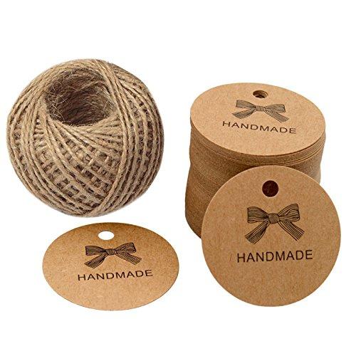 Handmade Tags,KINGLAKE 100 Pcs Kraft Paper Craft Round Gift Tags,Wedding Tags with 100 Feet Natural Jute Twine