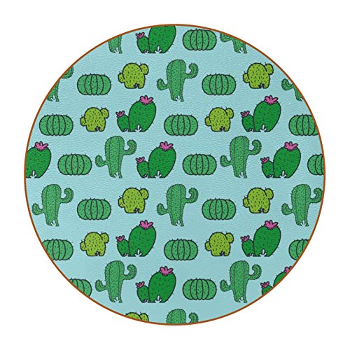 Microfiber leather Coasters with Round Edge 4.3 inches 6pc Heat-Resistant Reusable Saucers for Drinks Wine Glasses Plants Cups & Mugs,Hand Drawn Green Plants Cactus Pattern