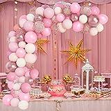 Kit Arco Palloncini Ghirlanda Palloncino Rosa Bianca e Oro rosa per Compleanno Battesimo Feste Nozze Decorazione KIt palloncini 105 pezzi