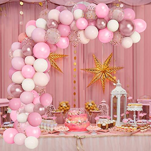 Ballon Girlande Luftballons Rosa Geburtstagsdeko Mädchen Ballonbogen Kit Party Deko 105 Stück für Hochzeit Baby Duschen
