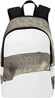 Cute Furry Grey Kitten Sleeps On A Pillow Casual Daypack Travel Bag College School Backpack for Mens and Women