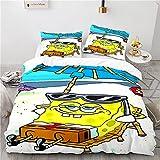 Spongebob Bettwäsche 135X200 cm Kinder Bettwäsche Set Mit 2 Kissenbezüge 50X70 cm Leicht zu pflegene Antiallergische Bettbezug Mit Reißverschluss
