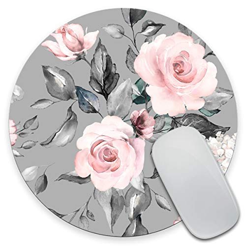 Amcove Spring Flowers and Leaves Round Mousepad Roses Mousepad Gray Pink Roses Mousepad Flowers Office Supplies Mousepad Floral Mouse mat