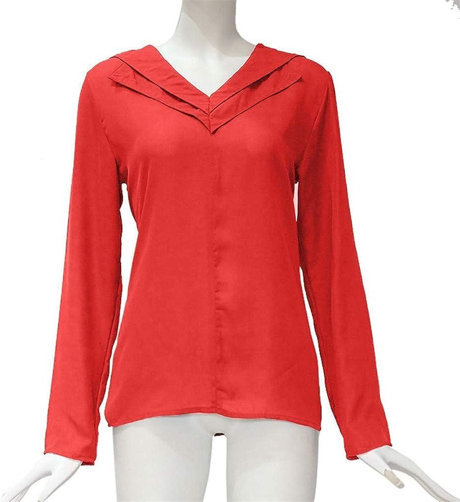 Huazi2 Womens Chiffon T-Shirt Ladies Office Plain Roll Sleeve Blouse Tops