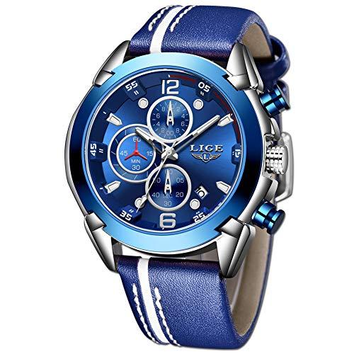LIGE Herren Uhr Sport Chronograph Leder Armband Analogue Quartz Uhr Männer Business Blau Silber Zifferblatt 30m Wasserdicht Armbanduhr
