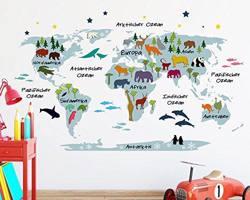 Wandtattoo Weltkarte für Kinder in blau mit bunten Tieren (110 x 179 cm (HxB))