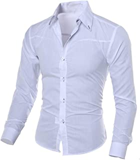 POQOQ Shirts Tops Men Slim Button Down Regular Fit Long Sleeve Plaid Fashion