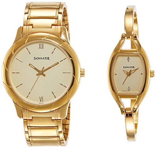 Sonata Pairs Analog Beige Dial Couple Watch For Wedding, Gift