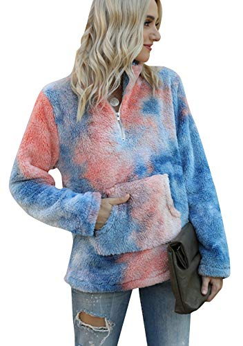 EFOFEI Suéter de felpa de mujer con bolsillos cremallera cuello alto manga larga Top invierno cálido cordero lana abrigo