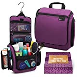 Hanging Travel Toiletry Bag for Women – Large Cosmetics, Makeup and Toiletries Organizer Kit with 19 Compartments, YKK Zippers, XXL Metal Swivel Hook, Water-Resistant Nylon