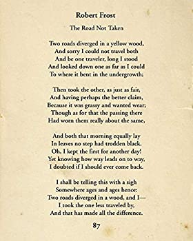 Robert Frost The Road Not Taken - Wall Decor Art Print - 8x10 unframed typography book page print - great gift for book and literary fans